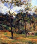 paul gauguin cow in a meadow rouen painting