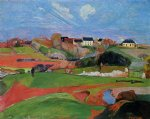 paul gauguin fields at le pouldu painting
