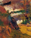 paul gauguin fishermen and bathers on the aven painting