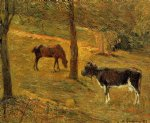 paul gauguin horse and cow in a field painting