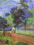 paul gauguin horse on road tahitian landscape painting