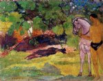 paul gauguin in the vanilla grove man and horse painting