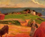 paul gauguin landscape at le pouldu painting