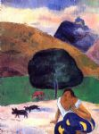 paul gauguin landscape with black pigs and a crouching tahitian paintings