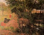 paul gauguin landscape with cows in an orchard painting