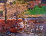 paul gauguin landscape with geese oil paintings