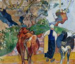 paul gauguin peasant woman and cows in a landscape prints
