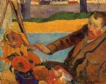 paul gauguin portrait of vincent van gogh painting sunflowers prints