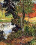paul gauguin red roof by the water prints
