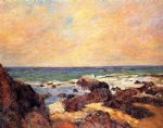 paul gauguin rocks and sea painting