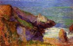paul gauguin rocks on the breton coast painting