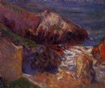 paul gauguin rocks on the coast painting