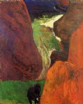 paul gauguin seascape with cow on the edge of a cliff painting-27407