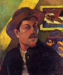 portrait paintings - self portrait with hat by paul gauguin