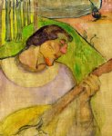 paul gauguin self portrait with mandolin painting 27416