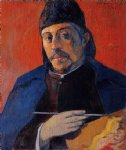 portrait paintings - self portrait with palette by paul gauguin