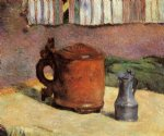 paul gauguin still clay jug and iron mug painting
