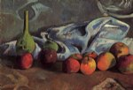 paul gauguin still life with apples and green vase painting