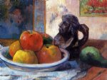 still life with apples pear and ceramic portrait jug by paul gauguin Painting