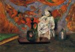 paul gauguin still life with carafe and ceramic figure painting