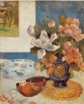still life with chinese peonies and mandolin by paul gauguin painting