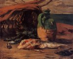 still life with jug and red mullet by paul gauguin painting