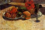 still life with mangoes and hisbiscus by paul gauguin painting