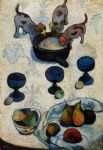 paul gauguin still life with three puppies painting