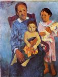 tahitian woman and two children by paul gauguin painting