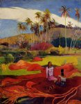tahitian women under the palms by paul gauguin painting