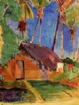 thatched hut under palm trees by paul gauguin painting