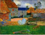 the blue roof by paul gauguin painting