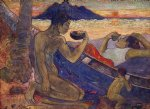 the canoe a tahitian family by paul gauguin painting