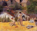 the moulin du bois d amour bathing place by paul gauguin painting
