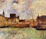 the port dieppe by paul gauguin painting