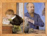 the sculptor aube and his son by paul gauguin paintings-27537