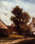 the tree in the farm yard by paul gauguin paintings-27545