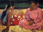 beach oil paintings - two women on beach by paul gauguin