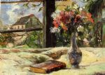 paul gauguin vase of flowers and window painting