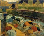 washerwomen at the roubine du roi. arles by paul gauguin paintings