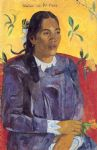 paul gauguin woman with a flower painting