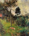 paul gauguin young woman lying in the grass painting
