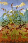 paul ranson four decorative panels iris and large yellow and mauve flowers painting 27112