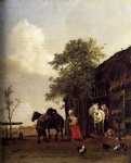 paulus potter figures with horses by a stable painting-27107