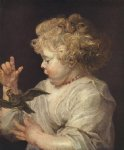 bird painting - boy with bird by peter paul rubens
