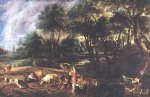 peter paul rubens landscape with cows and wildfowlers painting 26831