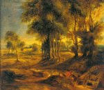 peter paul rubens landscape with the carriage at the sunset painting 26834