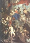 madonna enthroned with child and saints by peter paul rubens painting