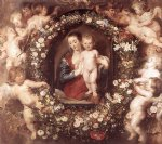 peter paul rubens madonna in floral wreath oil painting
