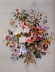 rose paintings - a bouquet of roses by pierre auguste renoir